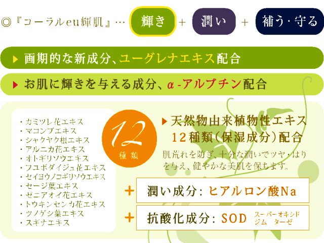 沖縄サンゴ ユーグレナ α−アルブチン の保湿ジェル 輝肌の説明
